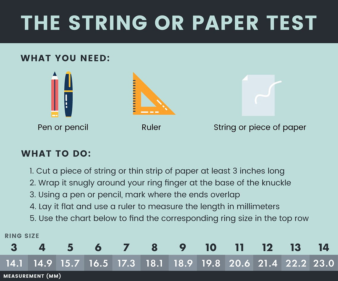 0e40f2dbe Ring Size Guide | Use String, Paper or a Ruler to Find Your Ring ...