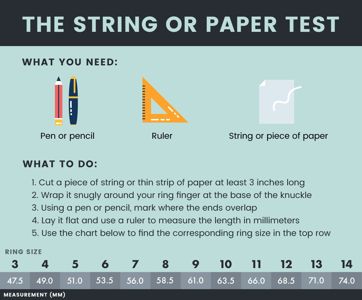 Ring Size Guide Use String Paper Or A Ruler To Find Your Ring