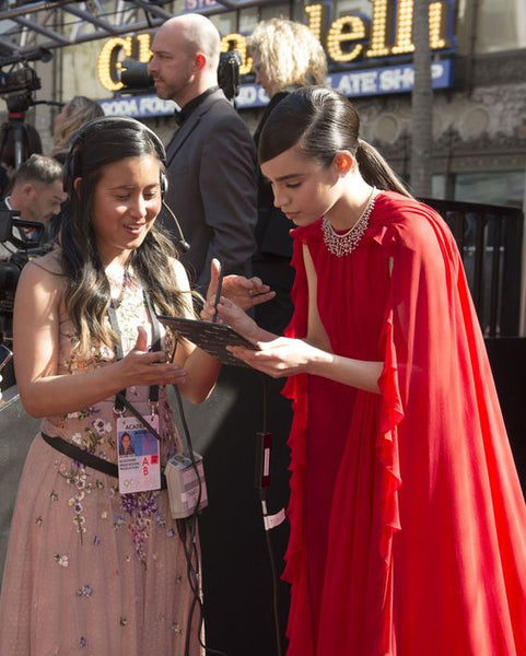 Sofia Carson Red Chiffon Prom Celebrity Dress with Jewelry Neck