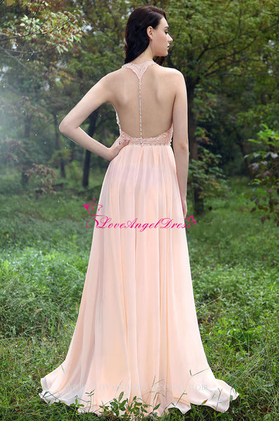 A-line Sweetheart Beaded Crystals Pink Chiffon Prom Gown