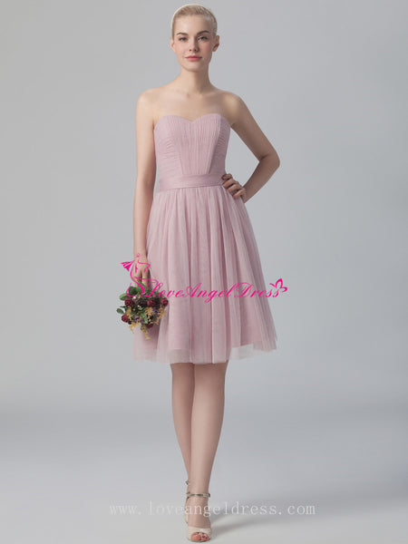 dusty-pink-a-line-tulle-short-wedding-guests-dresses