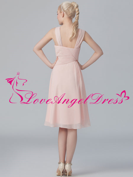 Asymmetric Neckline Chiffon Pink Knee Length Bridesmaid Dresses