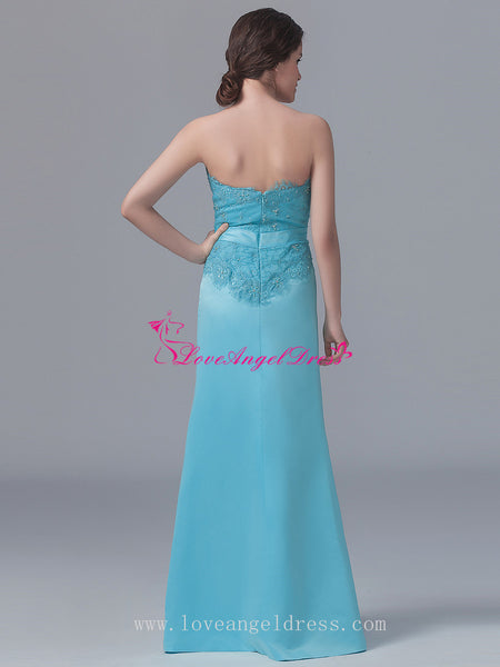 76a8444b1a ... Beaded Lace Light Blue Satin Long Bridesmaid Wedding Guests Dresses ...