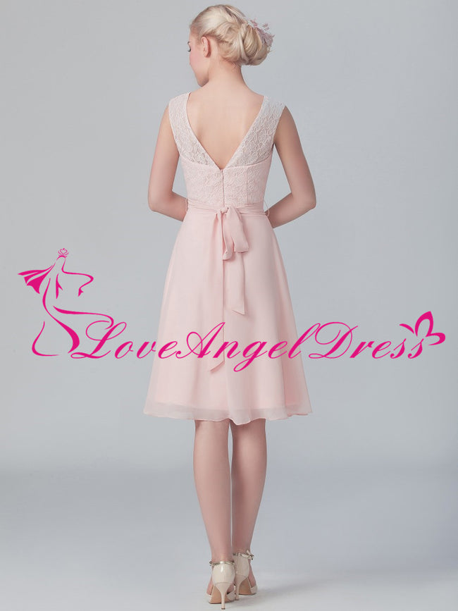 Boat Neck A-line Pink Lace and Chiffon Short Bridesmaid Gown