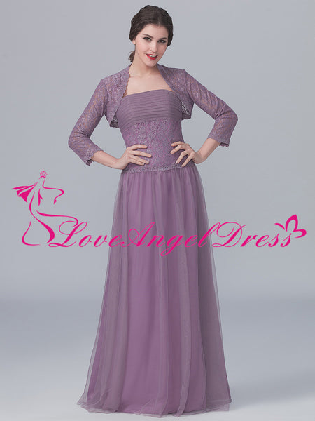 Dusty Purple Tulle Lace Mother of the Brides Dresses with Jacket
