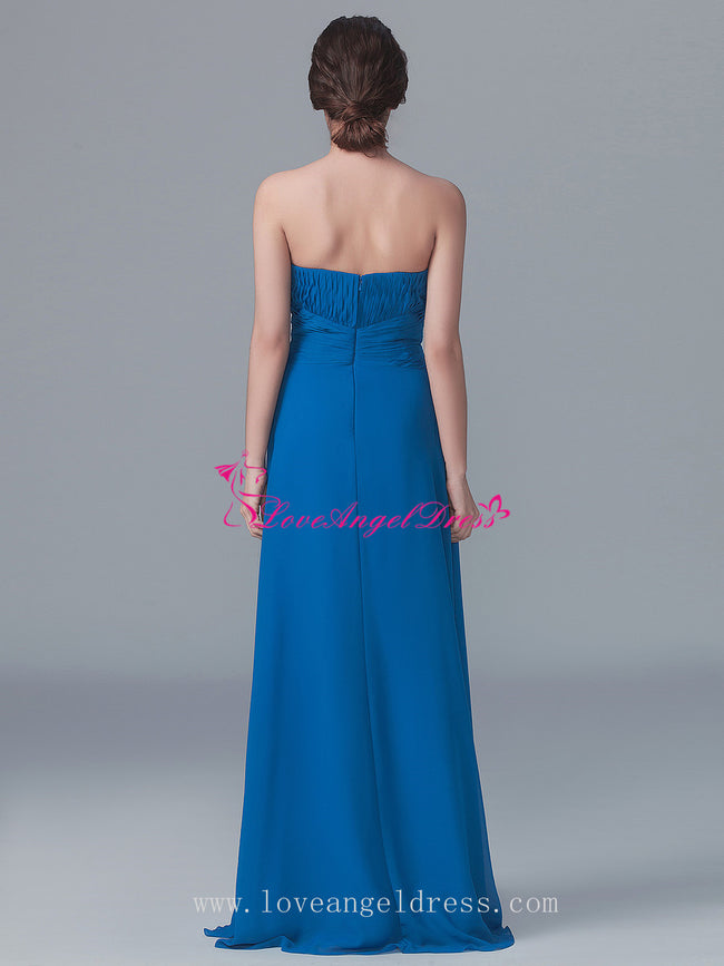 Curved Strapless A-line Blue Chiffon Bridesmaid Gown