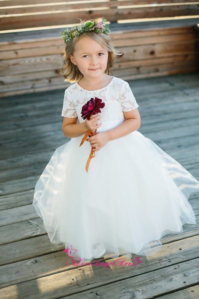 Puffy Tulle Lace Short Sleeves Flower Girls Wedding Party Dress