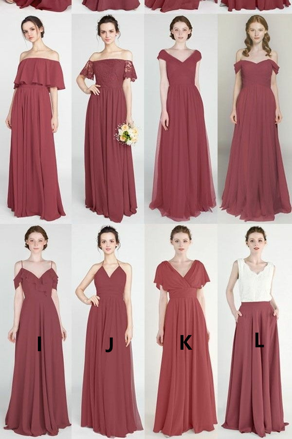 long-mismatched-bridesmaid-dresses-mauve-chiffon-skirt-1