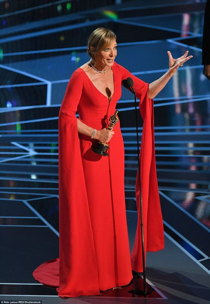 Allison Janney Oscar Red Carpet Dresses with Long Sleeves
