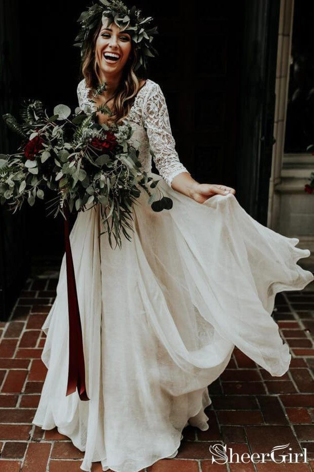2-piece-boho-wedding-dress-with-lace-sleeves-chiffon-skirt-1