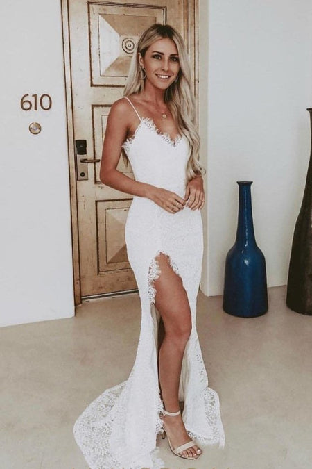 Spaghetti Straps 2020 Wedding Dresses Lace Open Back Vestido de novia