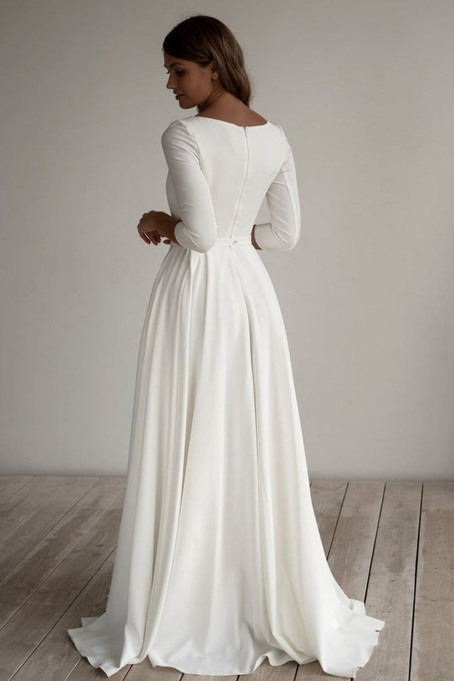 2020-modest-wedding-dress-with-3-4-sleeves-1