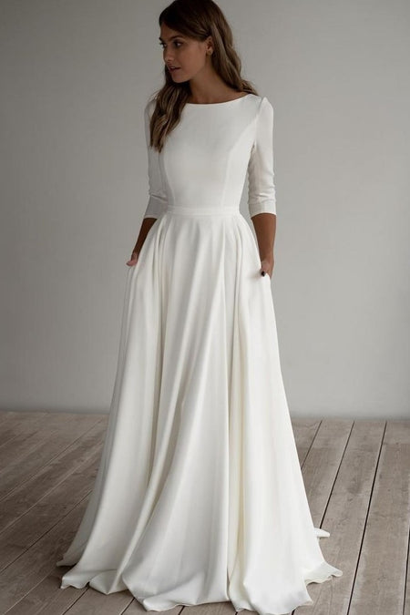 3/4 Sleeves Spandex Wedding Dresses with Beaded Crystals Belt