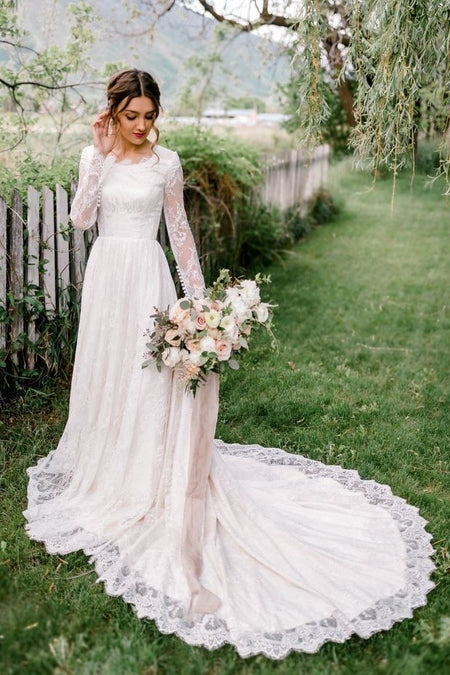 Sheer Lace Long Sleeves Wedding Dress with Appliqued Train