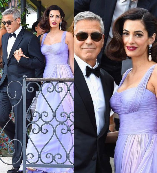 Amal Clooney Chiffon Lavender Celebrity Dresses Prom