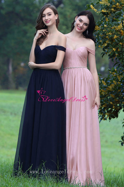 Off-the-shoulder Pink Chiffon Long Prom Dresses with Rhinestones Sash