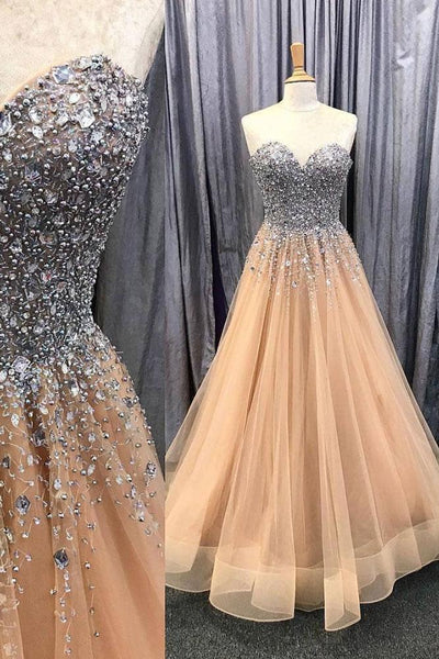Rhinestones Sweetheart Champagne Prom Dress Tulle Skirt