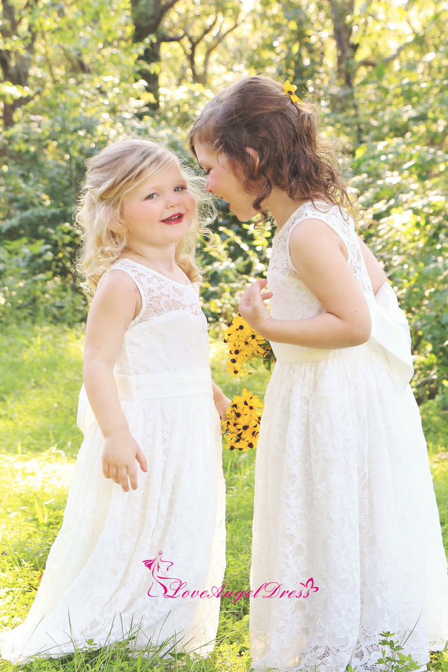Jewel Neck Lace Ivory Flower Girl Dress with Bow Sash