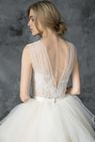plunging-v-neck-illusion-lace-ball-gown