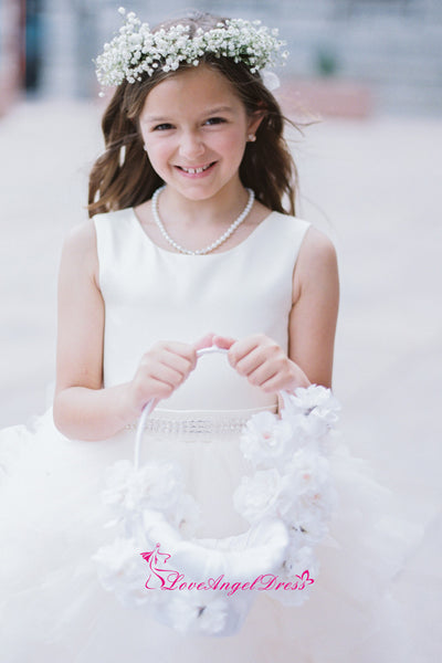 Sleeveless Satin Puffy Tulle Knee Length Flower Girls Dresses with Beaded Belt
