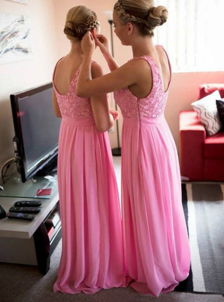 chiffon-long-pink-bridesmaid-dresses-with-lace-bodice-1