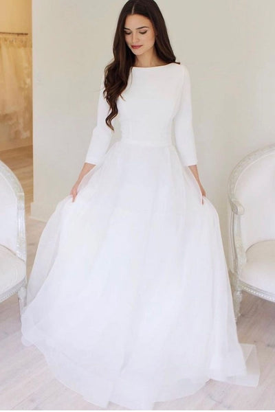 3-4-sleeves-modest-wedding-dress-for-bride-2021
