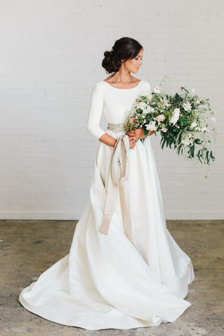 White Satin Modest Wedding Dresses with Long Sleeves