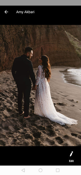 Luxury Rhinestones Wedding Dress with Illusion Long Sleeves