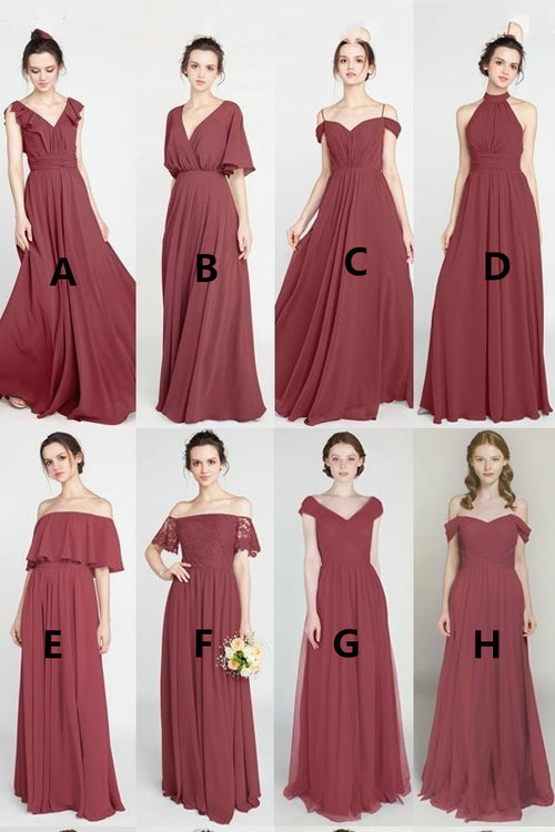 long-mismatched-bridesmaid-dresses-mauve-chiffon-skirt