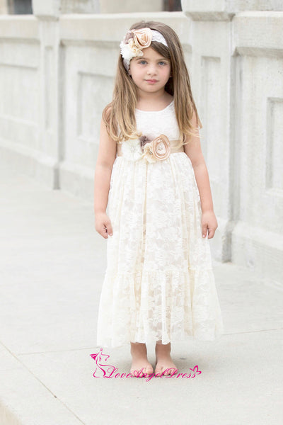 Scoop Neck Ankle Length Ivory Lace Baby Girl Dresses with Flower Belt