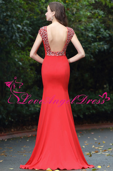 Floor Length Slim Satin Red Beaded Evening Prom Dresses Cap Sleeves