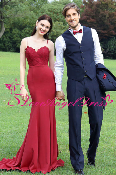Sweetheart Lace Satin Red Mermaid Evening Dresses with Spaghetti Straps