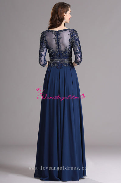 a3950998e8 ... A-line Blue Chiffon Dazzling Beaded Mother Wedding Guest Dresses with  Sleeves ...