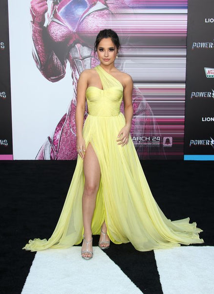 Becky G Yellow Chiffon Dress with Asymmetric Neckline