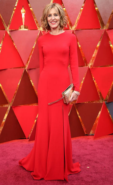 christine-lahti-red-satin-long-sleeves-celebrity-dresses