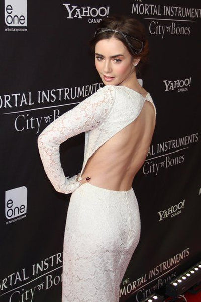 Lily Collins Lace Celebrity Dresses with Long Sleeves