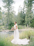 Plunging V-neck Lace Mermaid Wedding Dress with Detachable Train-4
