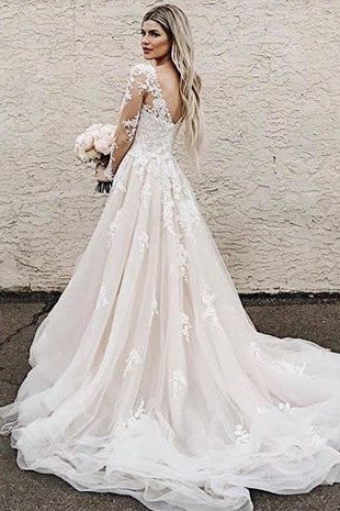 a-line-appliques-champagne-bridal-gown-with-sheer-long-sleeves-vestido-de-novia-1