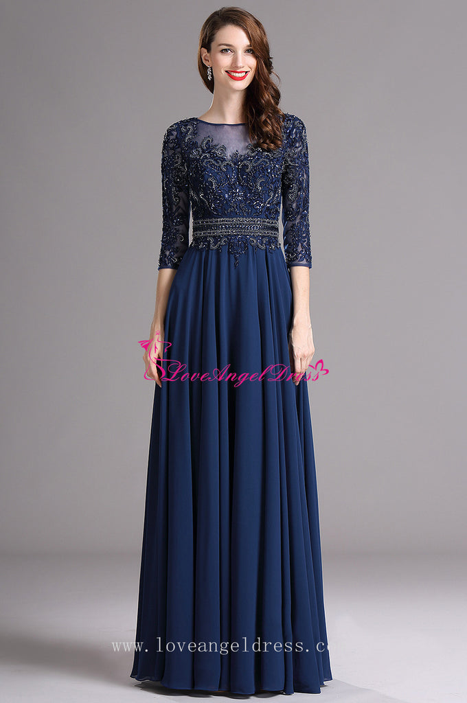 Wedding Guest Dresses With Sleeves.A Line Blue Chiffon Dazzling Beaded Mother Wedding Guest Dresses With Sleeves