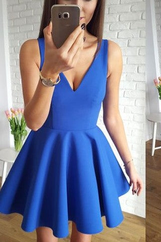 a-line-blue-satin-short-party-homecoming-dresses-under-$100