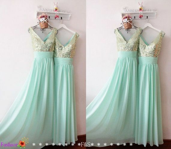 a-line-chiffon-long-bridesmaid-gown-mint-green-sequined-v-neck-1
