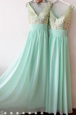 539fbd74b63 A-line Chiffon Long Bridesmaid Gown Mint Green Sequined V-neck ...