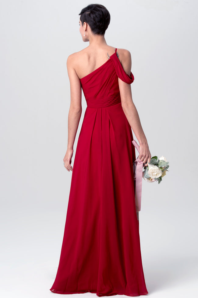 red-one-shoulder-bridesmaid-dresses-long