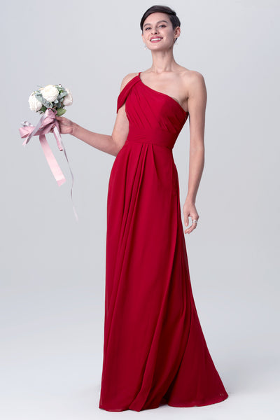 a-line-chiffon-red-one-shoulder-bridesmaid-dresses