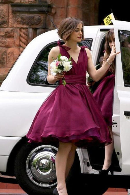 Dark Red Satin Brides Maid Dresses with Asymmetrical Hem