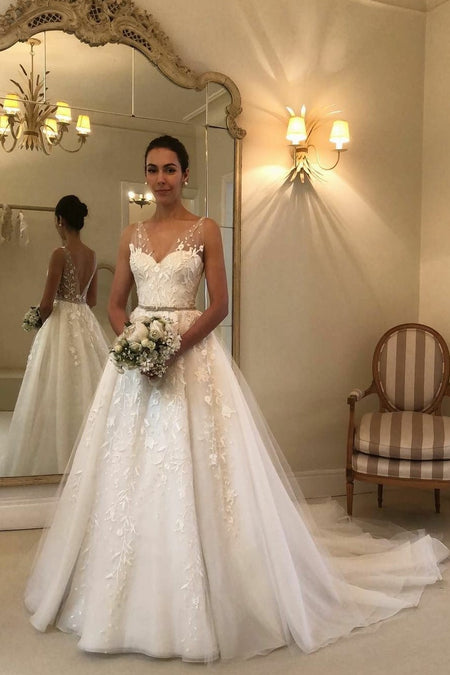 b089e609cc7 Plunging V-neckline Lace Chiffon Boho Wedding Dresses with Sleeves · loveangeldress  A-line ...