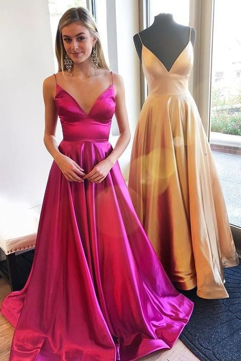 a-line-fuchsia-prom-gown-with-spaghetti-straps