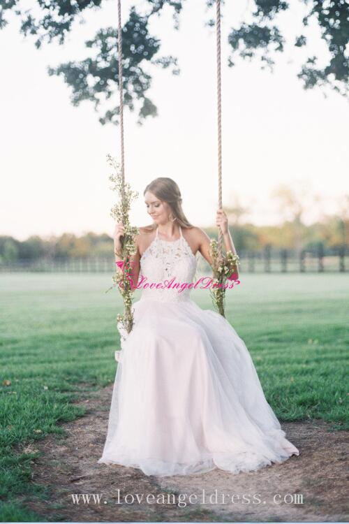 a-line-halter-lace-boho-wedding-dresses-with-tulle-skirt
