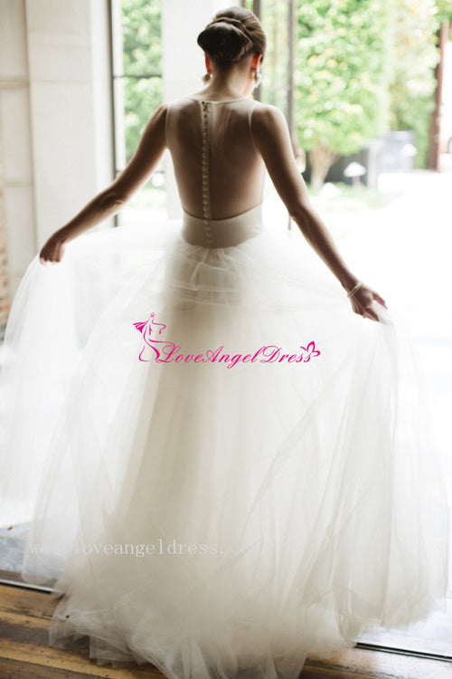 a-line-ivory-simple-bridal-gown-scoop-neck-satin-tulle-with-illusion-back