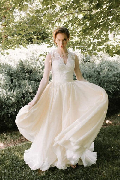 aadc9c09f8a A-line Lace Chiffon Outdoor Wedding Dresses with V-neckline – loveangeldress